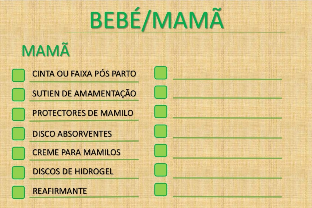 CHECK-LIST MAMÃ